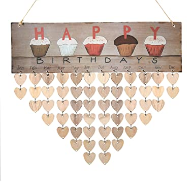 Wooden Cupcake Birthday Calendar Plaque for Family Friends Birthday Reminder Home Decor Wall Hanging Sign with 50 Pieces Wood Heart Tags