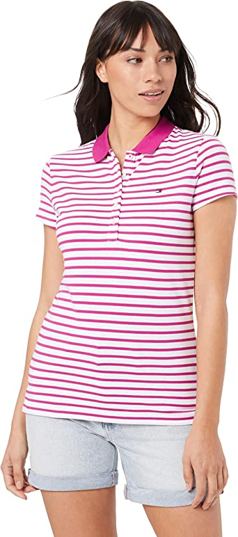 Tommy Hilfiger New Chiara Str Pq Polo SS, (Knits We STP/Fuchsia ...