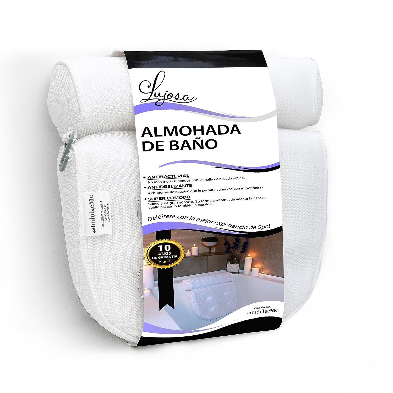 Amazon.com: Lujosa almohada de baño Extra Grande con ventosas con excelente agarre. No más Moho Gracias a la Malla de secado rápido: Health & Personal Care