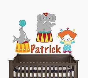"Custom Name Circus Juggler Elephant and Seal - Circus Theme - Baby Boy/Girl - Wall Decal Nursery for Home Bedroom Children (31"" Wide x 19"" Height)"