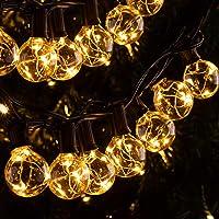 Quntis 11,7 m IP65 LED lichtketting buiten, 30 stuks G40 gloeilampen E12 warm wit + 3 reservelampen, 155 leds…