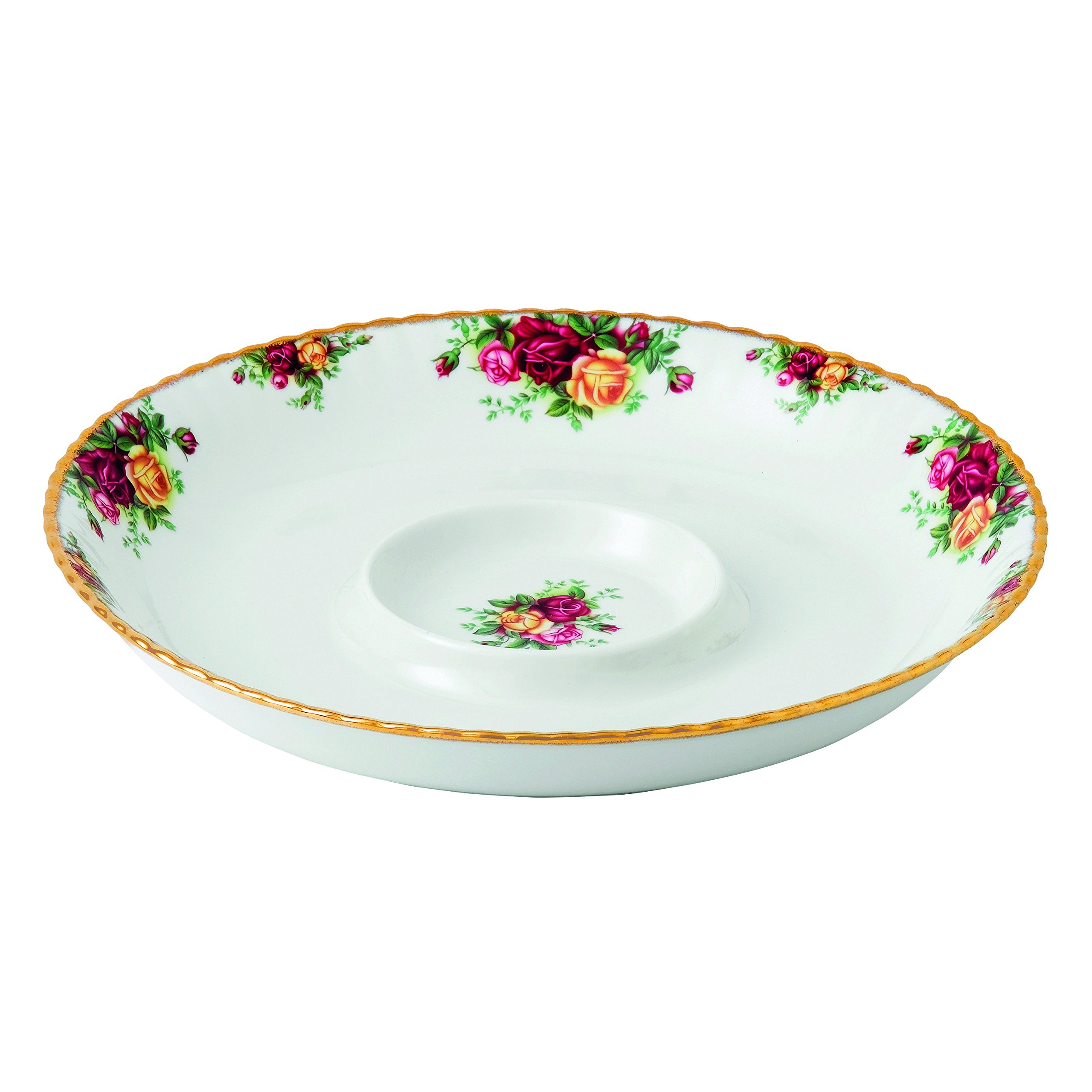 Royal Albert Old Country Roses, Chip & Dip, Multicolor