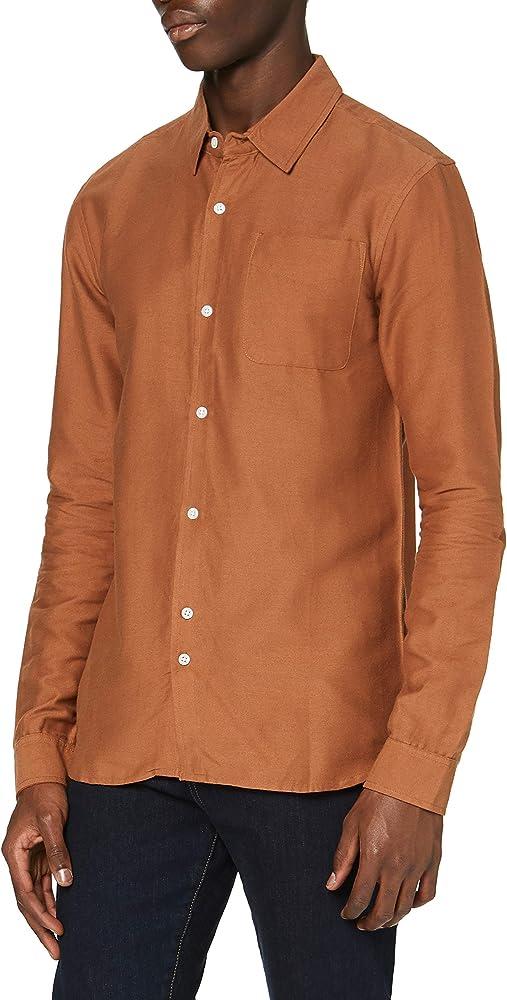 Marca Amazon - find. Camisa de Algodón Hombre, Rojo (Rust), XL, Label: XL: Amazon.es: Ropa y accesorios