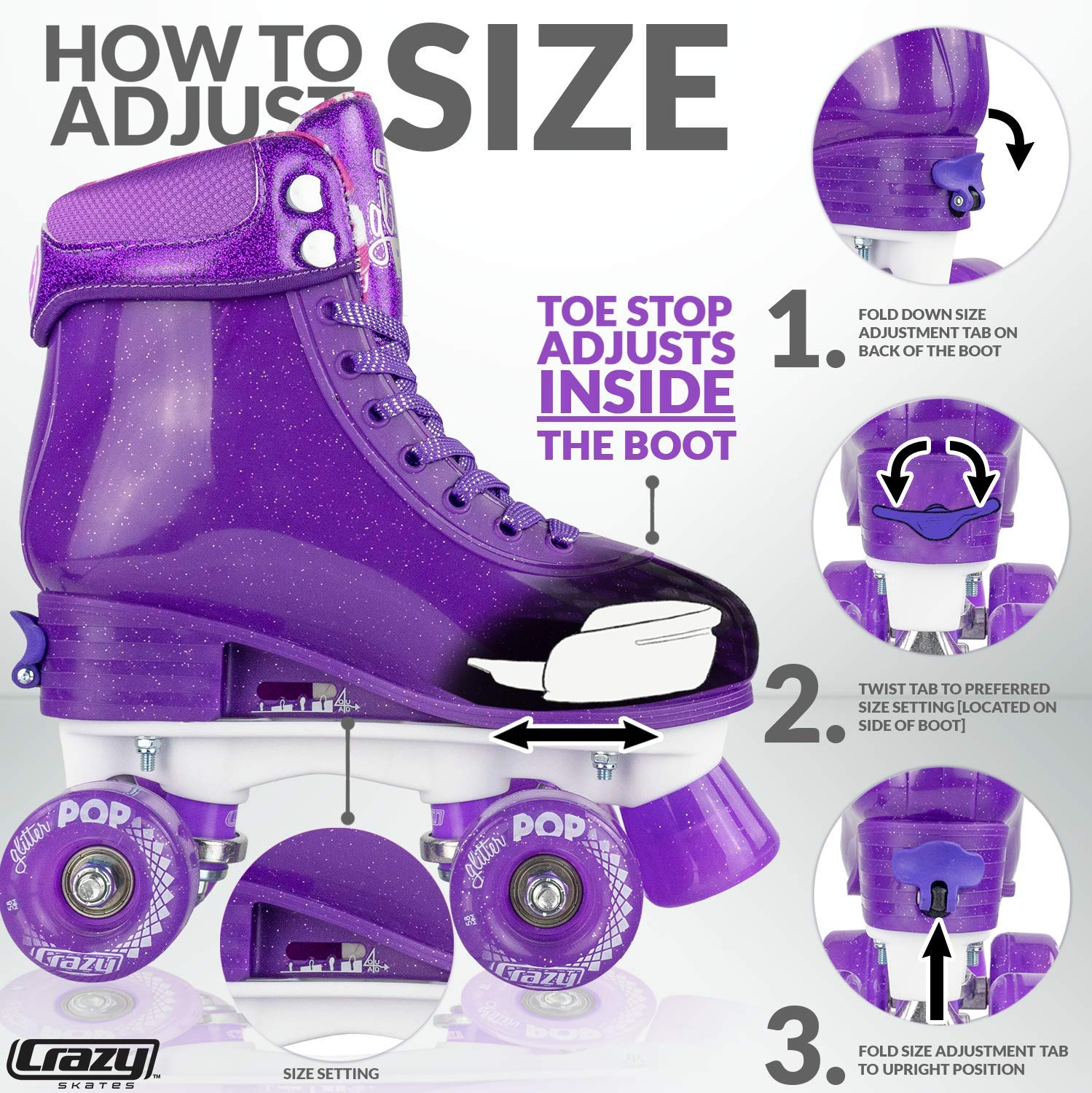 Crazy Skates Glitter POP Adjustable Roller Skates for Girls and Boys | Size Adjustable Quad Skates That Fit 4 Shoe Sizes | Purple (Sizes 3-6) by Crazy Skates (Image #3)