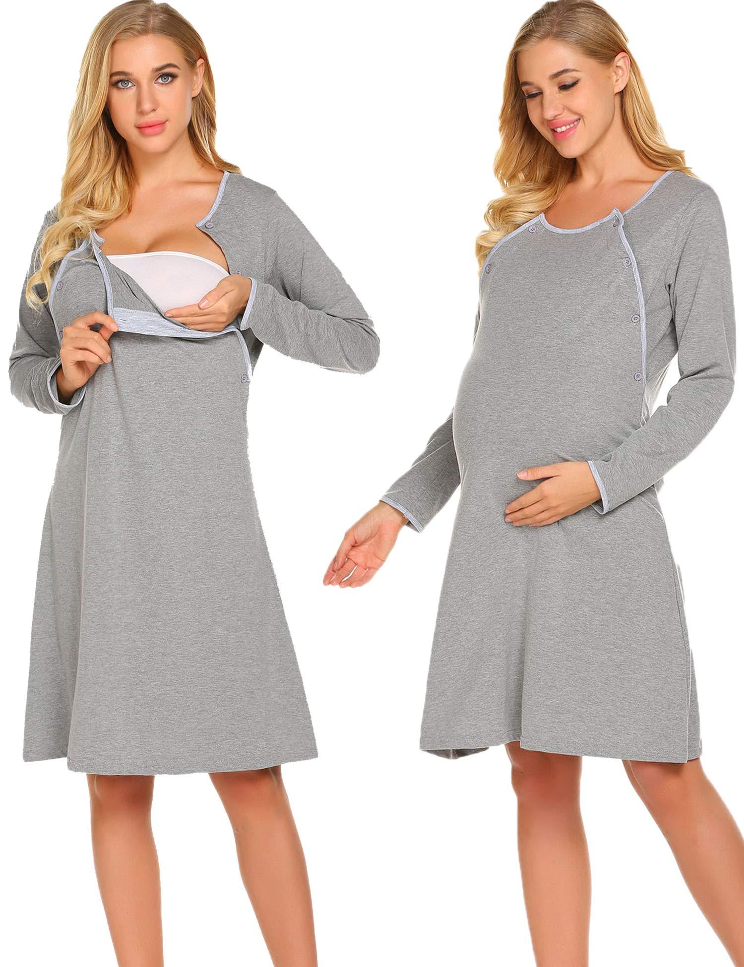 Ekouaer Nursing Nightgown Nightdress Hospital Gown Delivery/Labor/Maternity/Pregnancy Soft Breastfeeding Dress,Cdark Grey,Medium