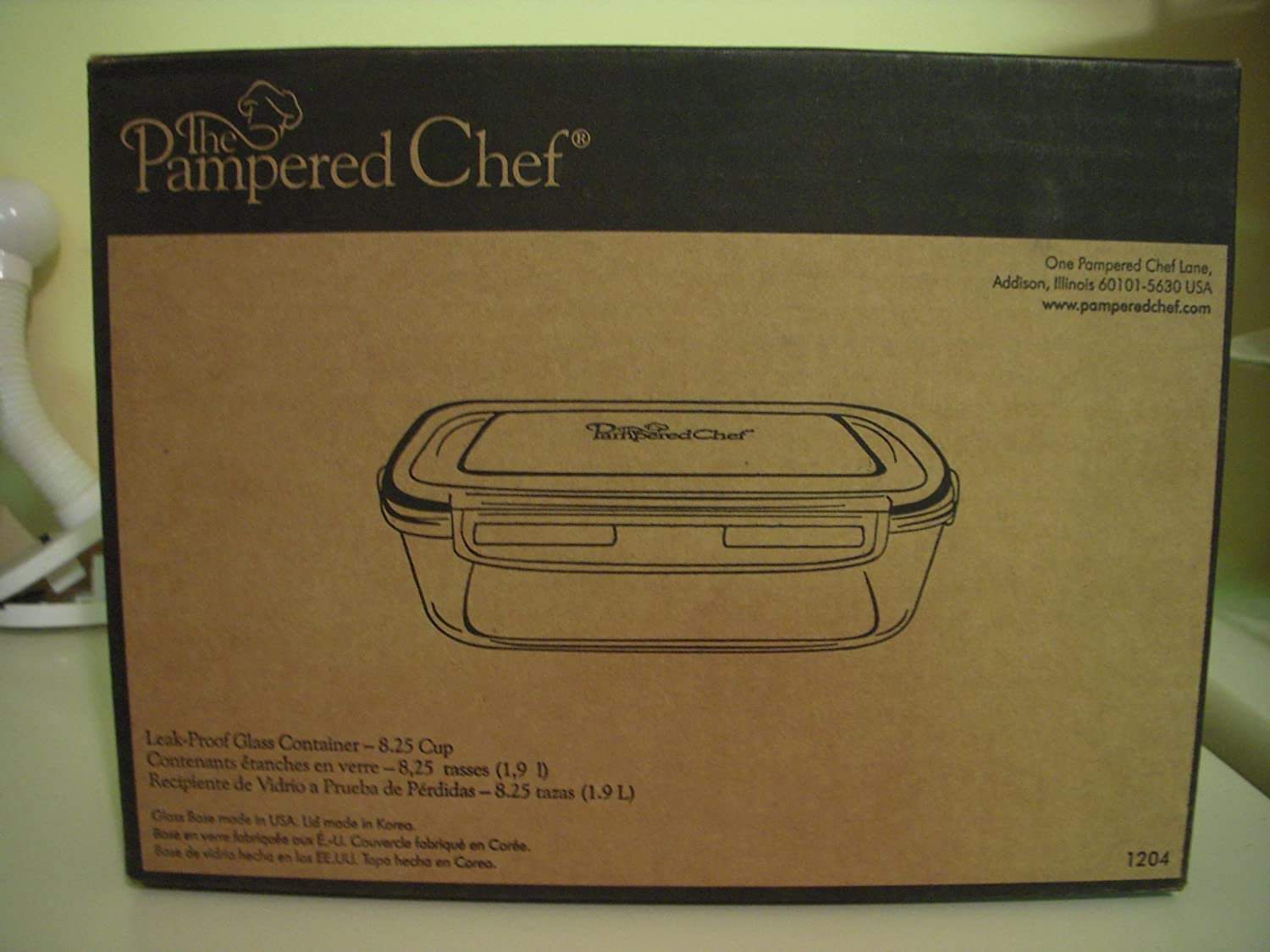 Pampered Chef 8 1/4-cup Rectangle Leakproof Glass Container with Lid