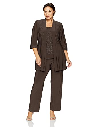 R M Richards Women S Plus Size Two Piece Glitter And Lace Pant Set