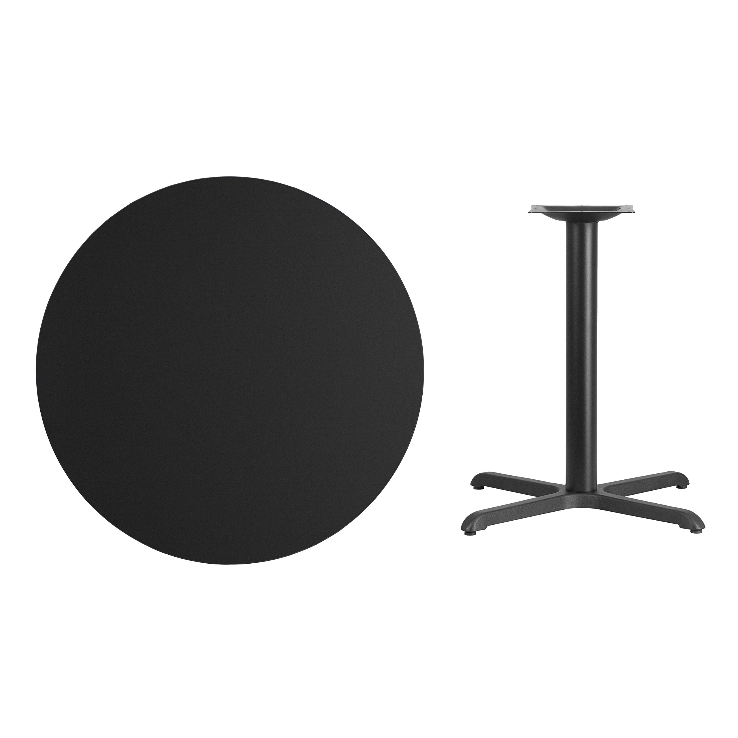 My Friendly Office MFO 36'' Round Black Laminate Table Top with 30'' x 30'' Table Height Base