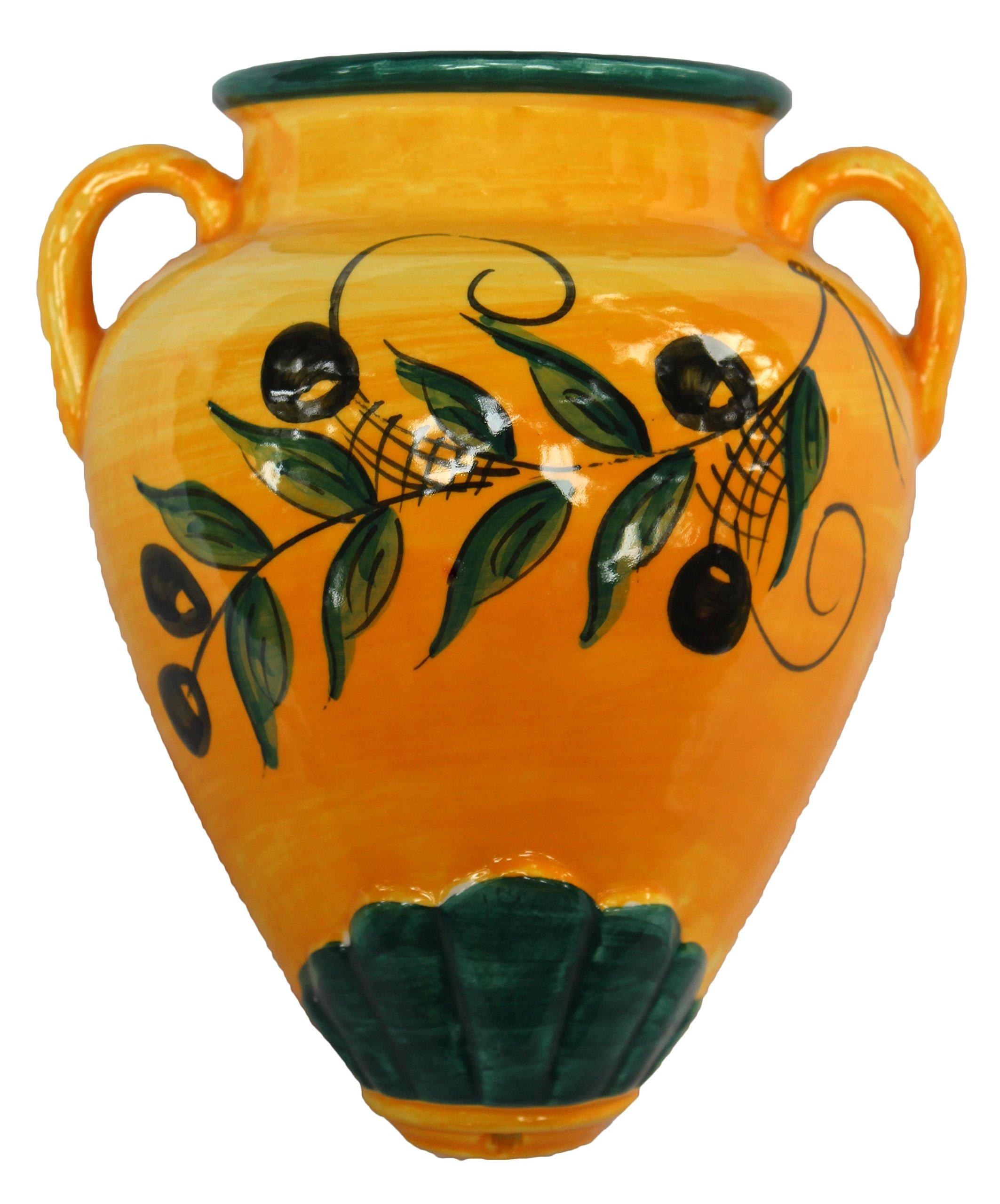 Cactus Canyon Ceramics Wall Flower Pot - Spanish Tinaja - Olivas - Hand Painted in Spain