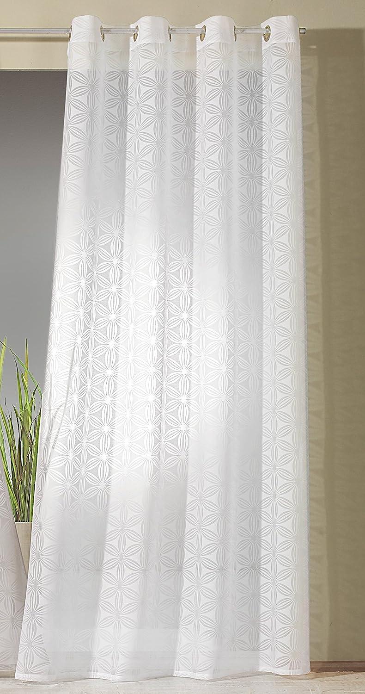 Modern Chic Vorhang Dekoschal Typ325 Heimtexland fashion and joy Gardine /Ösenschal in nat/ürlicher Batist-Optik mit grafischer Ausbrenner Blume in wei/ß halbtransparent HxB 245x140 cm