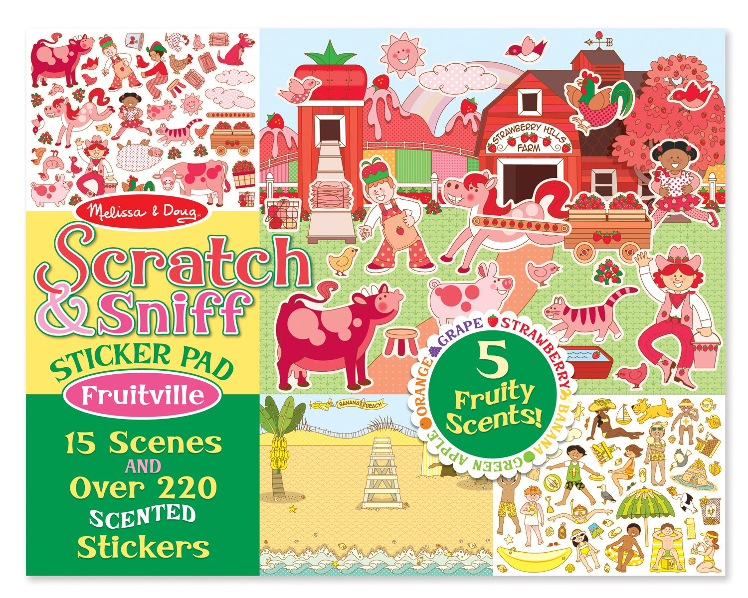 Melissa & Doug Scratch and Sniff Sticker Pad: Fruitville – 220+ Fruit-Scented Stickers $4.99