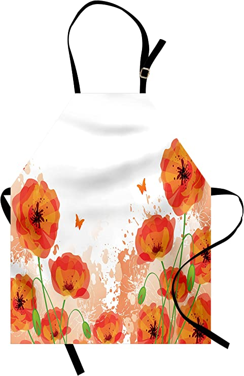 Lunarable Floral Apron Flourishing Spring Flowers and Leaves in Watercolors Frame Colorful Artistic Design Unisex Kitchen Bib Apron with Adjustable Neck for Cooking Baking Gardening Multicolor