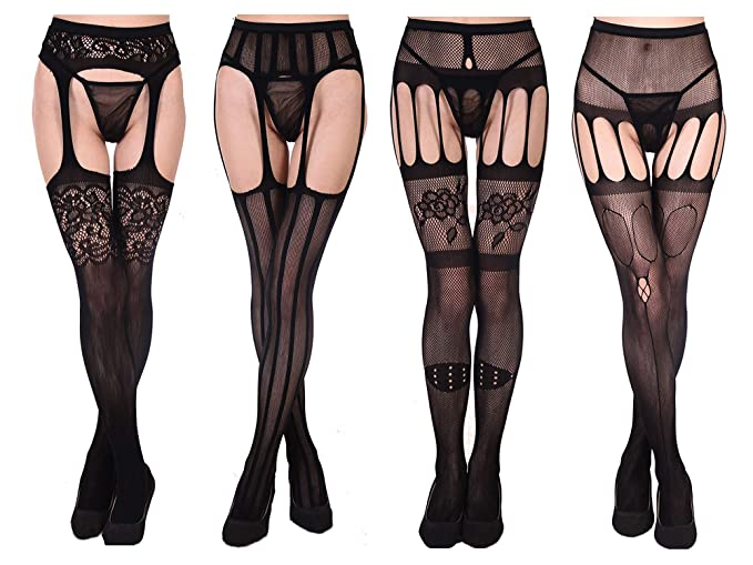 d5b8f92a987 Amazon.com  Fishnet Stockings for Women Sexy Thigh High Crotchless Pantyhose  Mesh Tights Suspender Bodystockings Black 4 Pack  Clothing