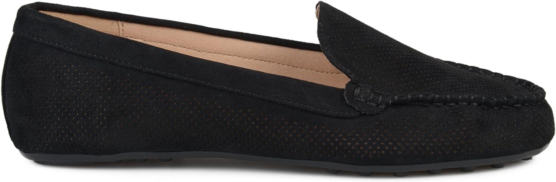 Womens Comfort Sole Faux Nubuck Laser Cut Loafers Brinley Co