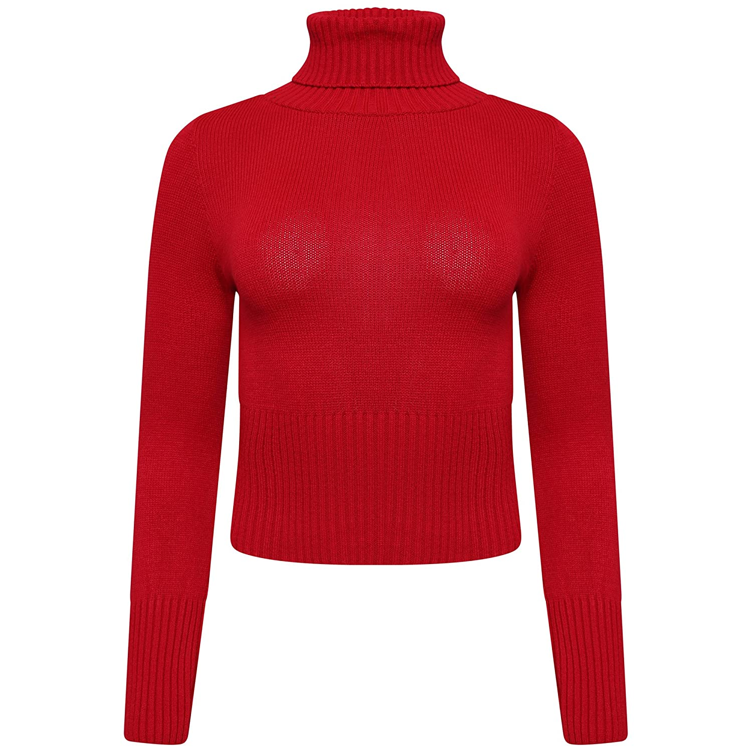 GirlzWalk Long Sleeve Polo Turtle Neck Chunky Cable Knitted Crop TOP Knit Jumper