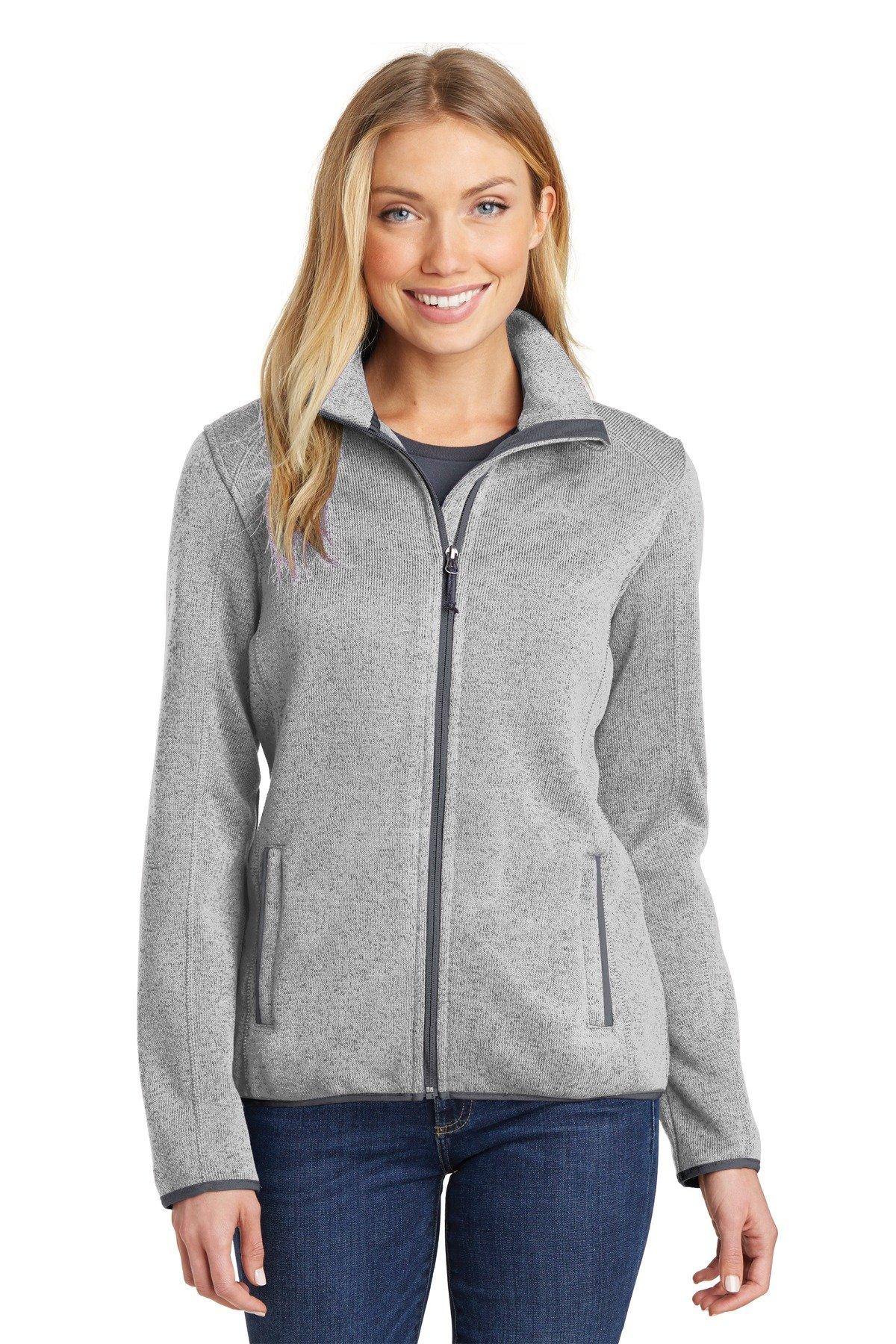 Port Authority Women's Sweater Fleece Jacket L232 Grey Heather Medium