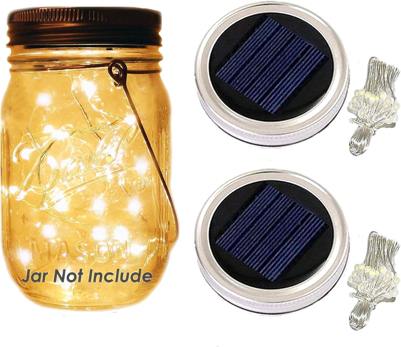 Mason Jar Lights Lids - Solar Lights LED String Lights Screw on Silver Lids - Soft Warm White - Best for Glass Mason Jar Patio,Garden,Wedding,Party Table Decor (30-LED Warm White,Jar Not Include))