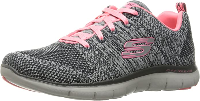 Skechers Flex Appeal 2.0 High Energy Sneakers Damen Grau/Coral/Rosa