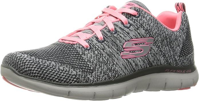 Skechers Flex Appeal 2.0 High Energy Sneakers Damen Grau/Coral/Rosa