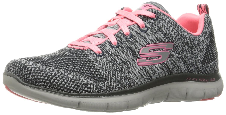 Skechers Women's Flex Appeal 2.0 Sneaker B01AHK5A2A 7 B(M) US|Charcoal/Coral Knit