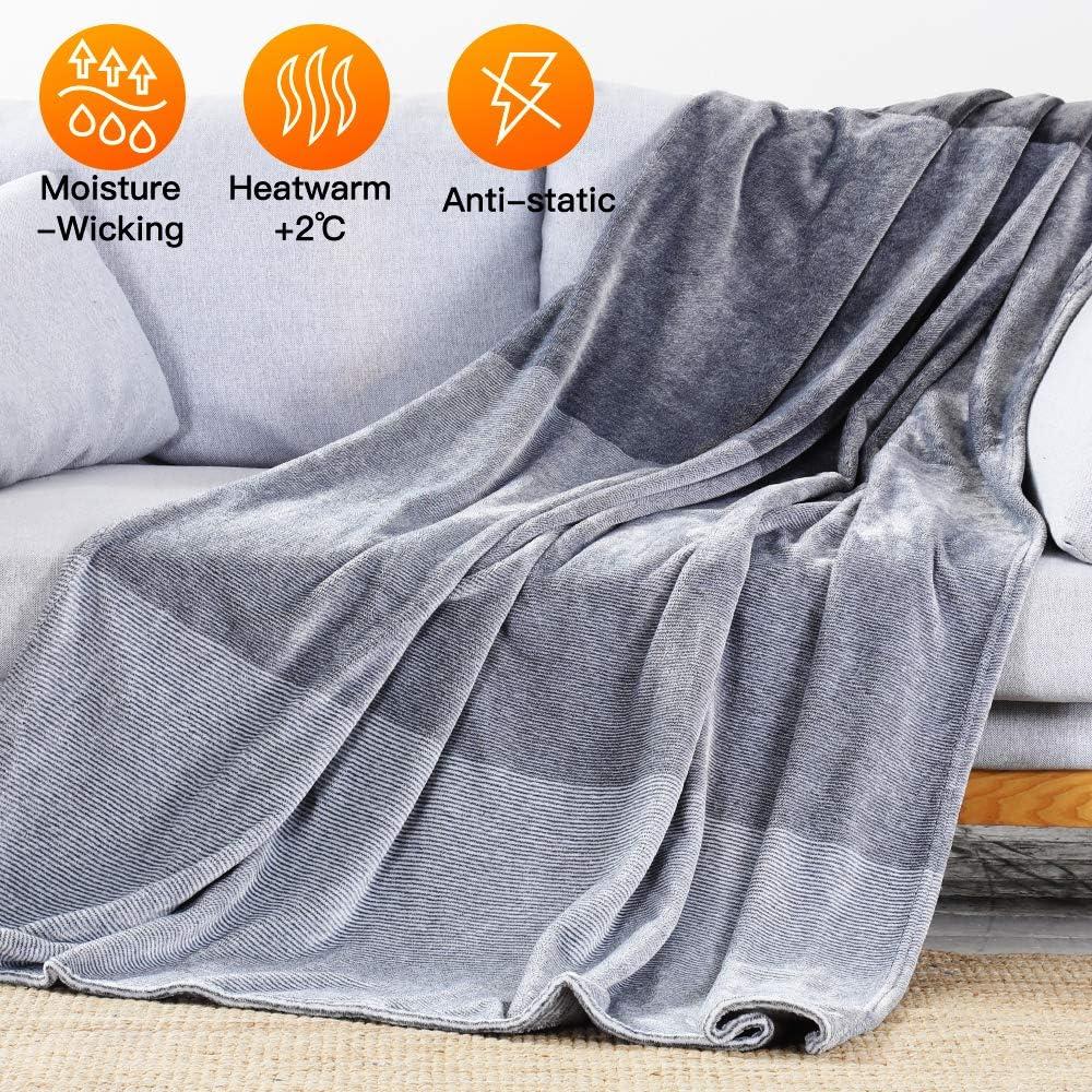 Luxear Manta Sofa con Japón Última Tecnología de Autocalentamiento 150x200cm Manta Gris de Franela Microfibre Reversible para Cama 90 cm/150 cm Invierno Manta Extra Suave para Perro, Lavado en Máquina