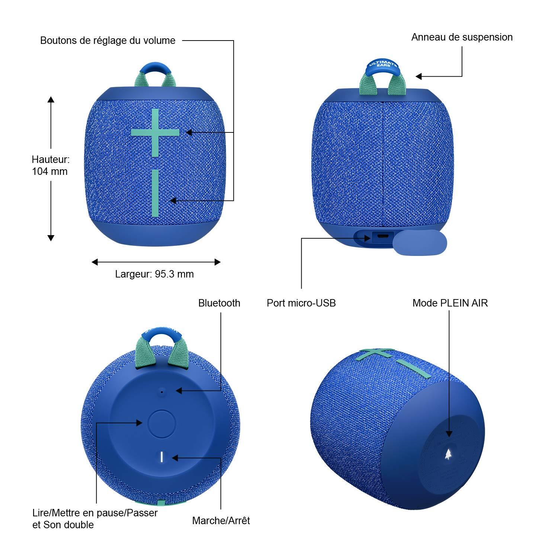 /Étanche // Anti-Poussi/ère IP67 Crushed Ice Grey ULTIMATE EARS WONDERBOOM 2 Enceinte Portable Bluetooth Sans Fil Capacit/é /à Flotter Port/ée de 30 M/ètres Son /à 360 Degr/és avec Basses Puissantes