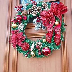 Amazon S C Live クリスマスリース 50cm オーナメント付 ビッグ レッド リボン キラキラリボン スター 星 飾り ボール ポインセチア 松かさ 鮮やかな赤い実 ペッパーベリー スノーフレーク 雪イメージ 北欧風 大人 高級風 ゴージャス おしゃれ 素敵 クリスマス リース