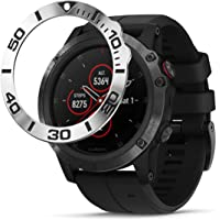 BaiHui Stainless Steel Bezel Ring Compatiable with Garmin Fenix 5X Plus Bezel Ring Adhesive Cover Anti Scratch & Collision Protector for Garmin Watch Accessory (Silver-Not Fit Fenix 5 / 5X)