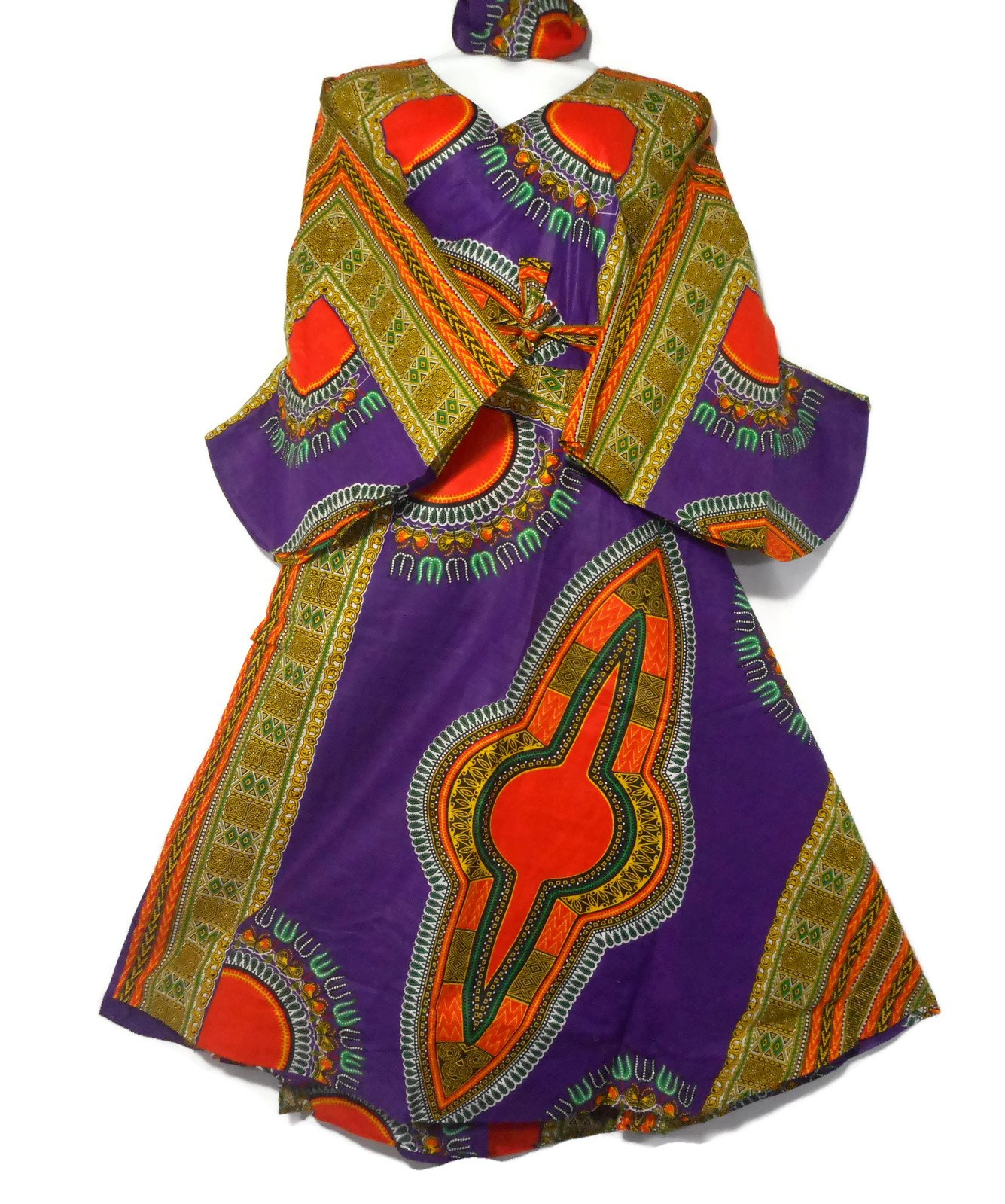Women Maxi Dashiki Wrap Around Dress Caftan Long Slimming Flowy Dress Cotton Wax