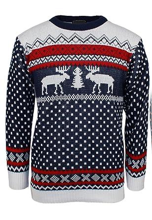 05c2feef2022 ZEE FASHION Xmas Novelty Knitted Christmas Reindeer Sweater Jumper ...