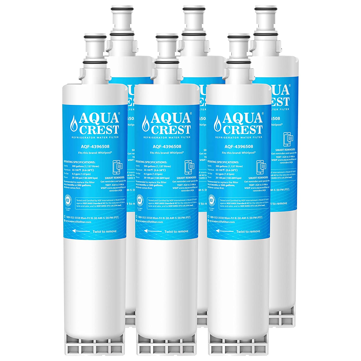 AQUACREST 4396508 Refrigerator Water Filter, NSF 42 reduces chlorine   Compatible with Whirlpool 4396508, 4396510, Kenmore 46-9010, EveryDrop  Filter 5,