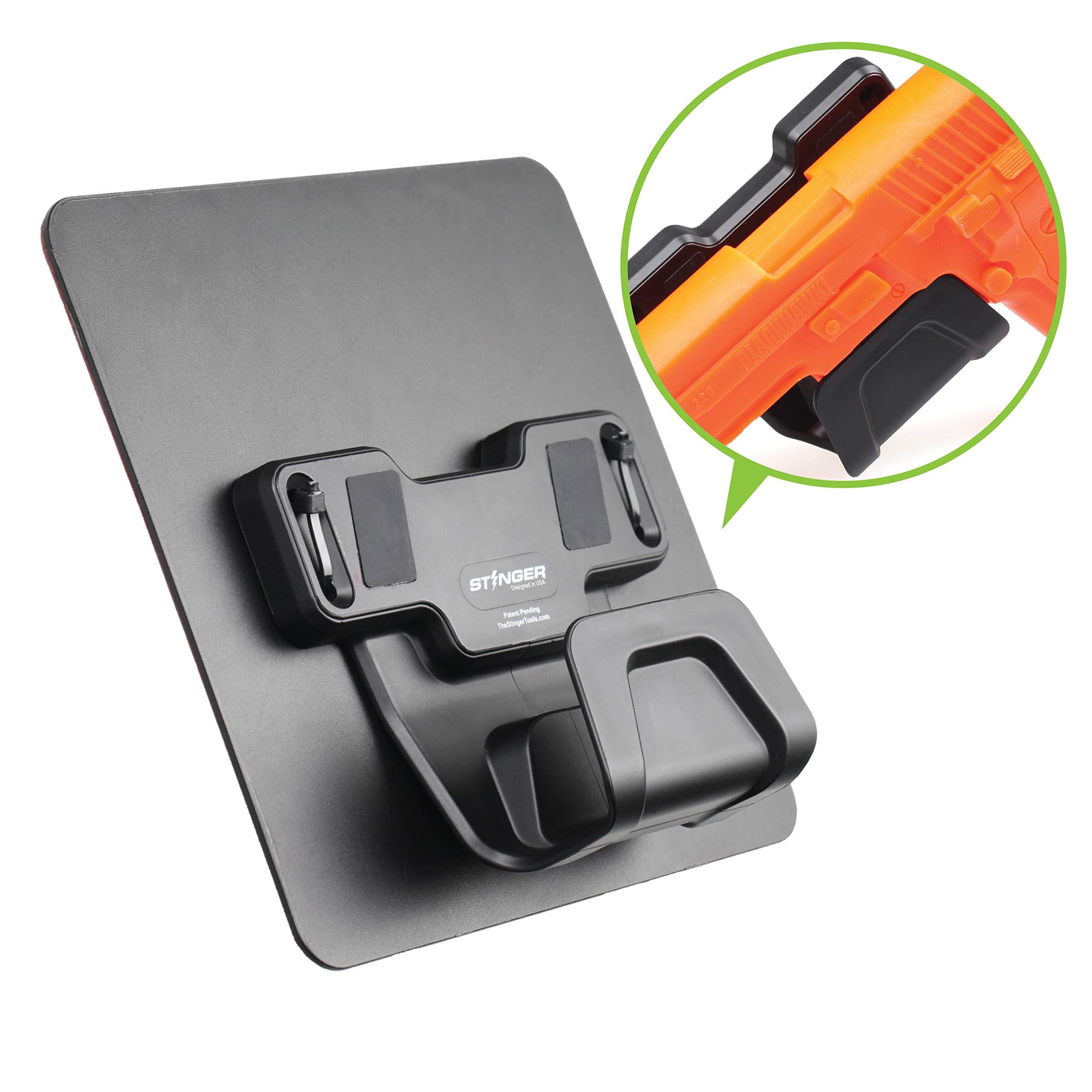 Stinger Magnetic Gun Holder w/Safety Trigger Guard Protection, w/Heavy Duty Adhesive Plate Non-Drill Solution, Wall Mount Gun Rack Holster Handgun Shotgun Firearm Conceal (Black 1 pc)