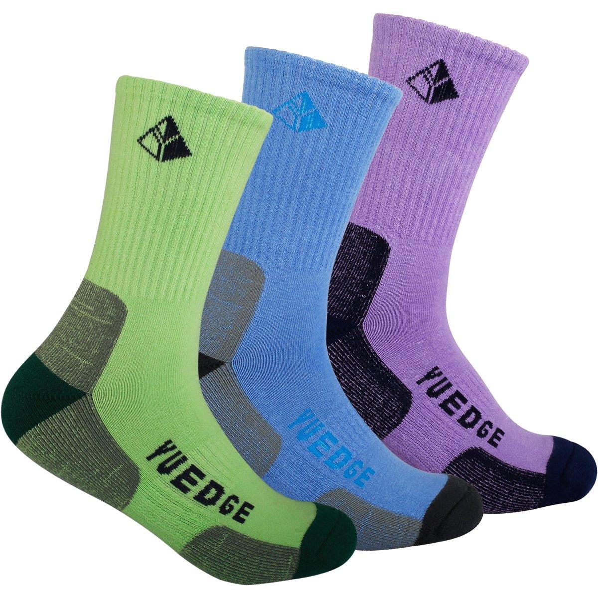 YUEDGE 3 Pairs Women's Wicking Cushion Performance Athletic Hiking Crew Socks (L, Tender green/Blue/Purple)