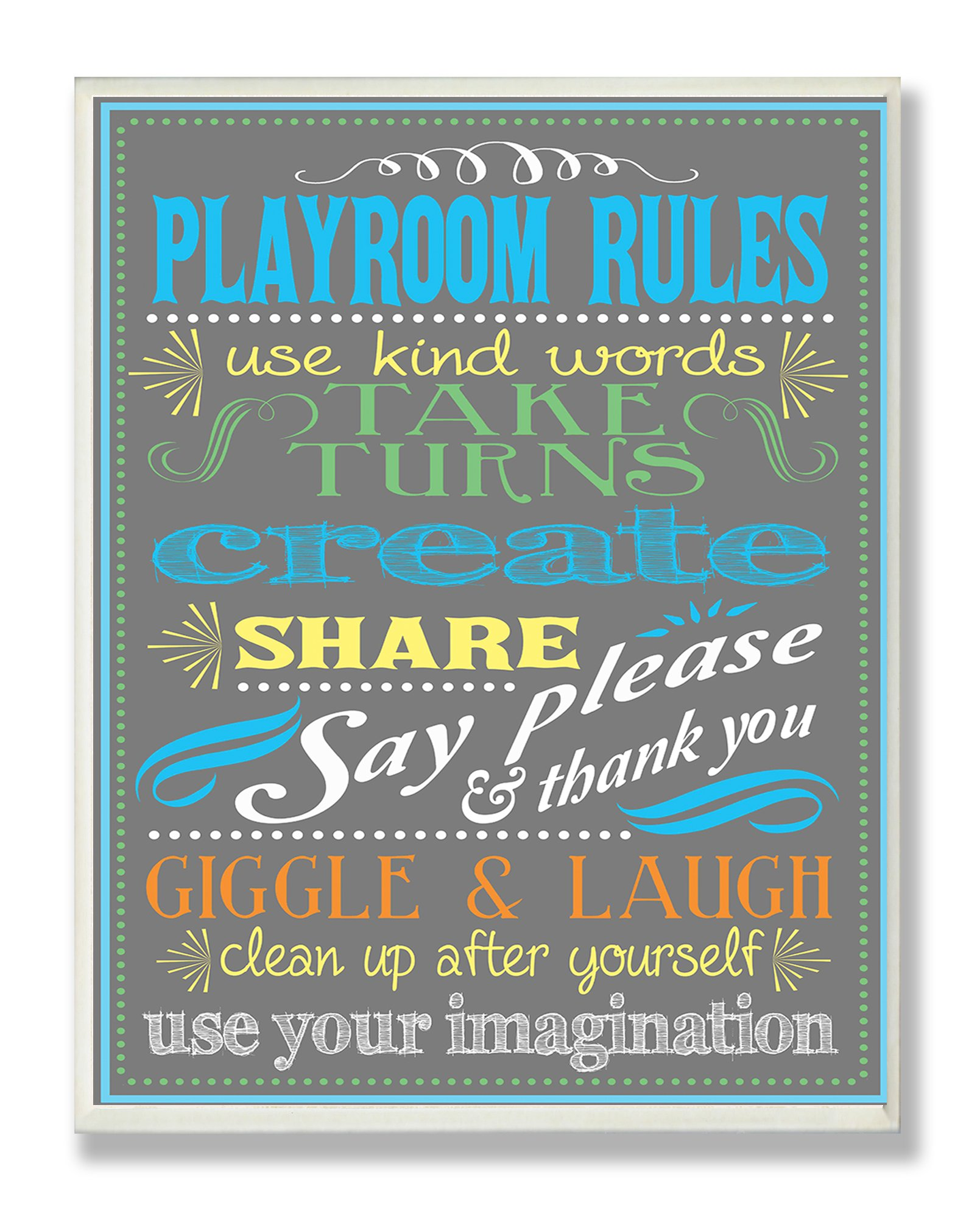 The Kids Room by Stupell Gray Playroom Rules Use Kind Words Rectangle Wall Plaque, 11 x 0.5 x 15, Proudly Made in USA