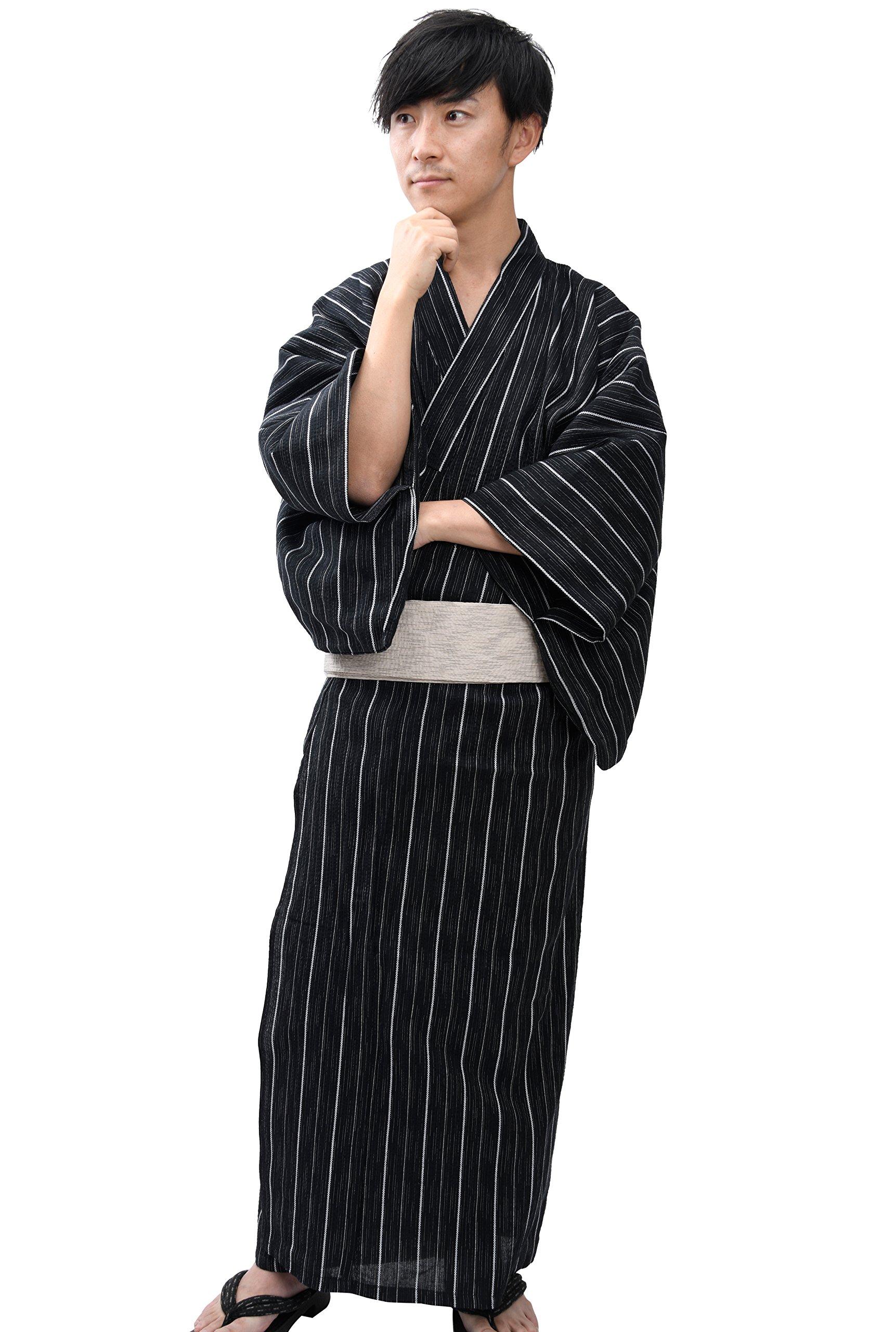 Edoten Men's Kimono Japan Shijira Weaving Yukata 701 Black Stripe M