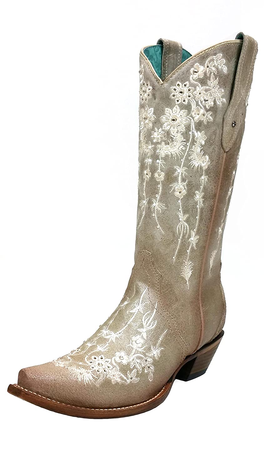 a1caec5a5d7bc Amazon.com | CORRAL C3178 Bone Floral Embroidered Sawrovski Crystal Boots |  Boots