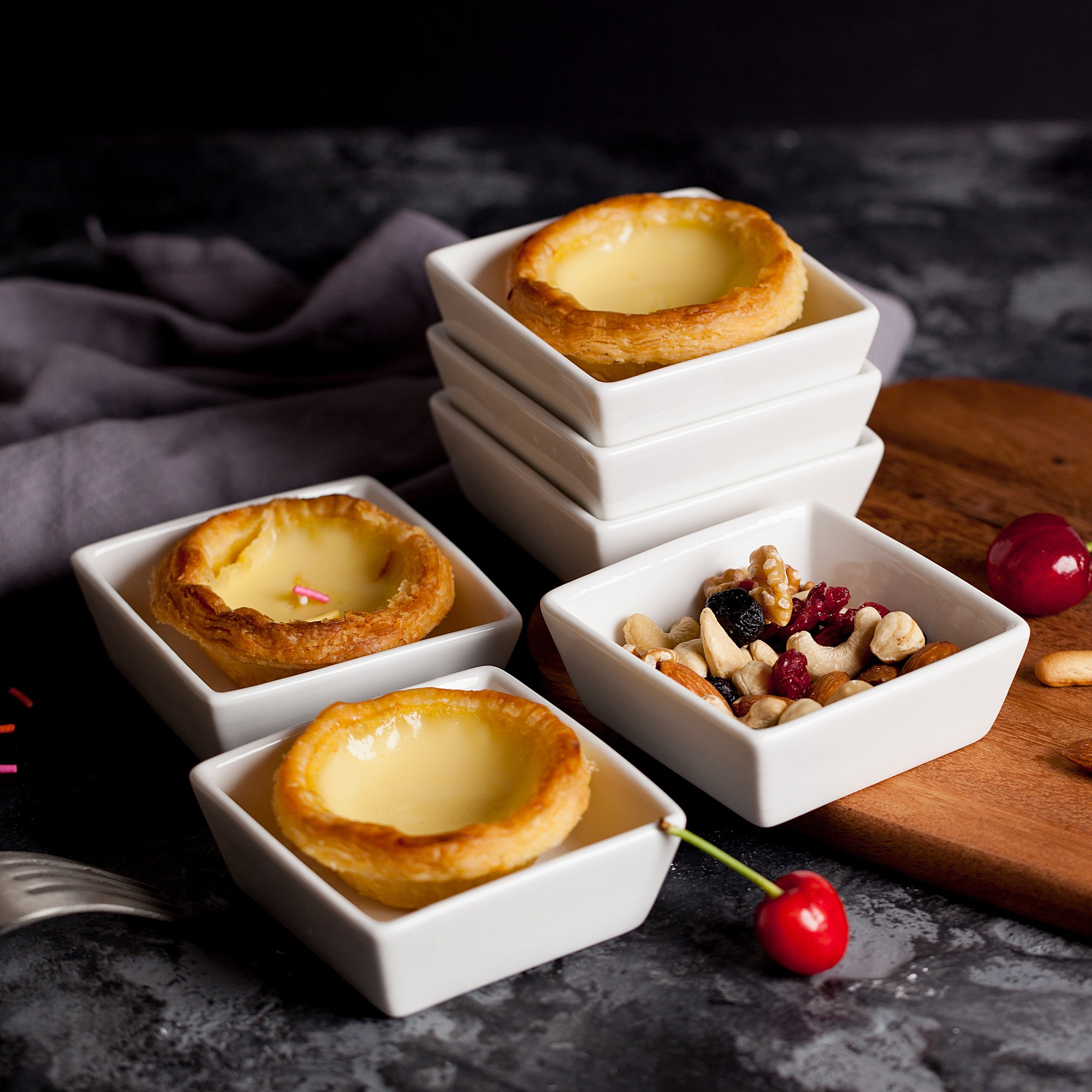 BTäT- Ramekins 4 oz Square, Set of 6 Ramekins for Baking, Creme Brulee Dishes, Souffle Cups, Flan Pan, Sauce Cups, Custard Cups, Pudding Cups, Desert Bowls, Dipping Bowls, Baking Bowls, Small Ramekins by Brew To A Tea (Image #2)