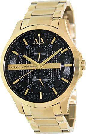 Armani Exchange Black Dial Gold PVD Mens Watch AX2122