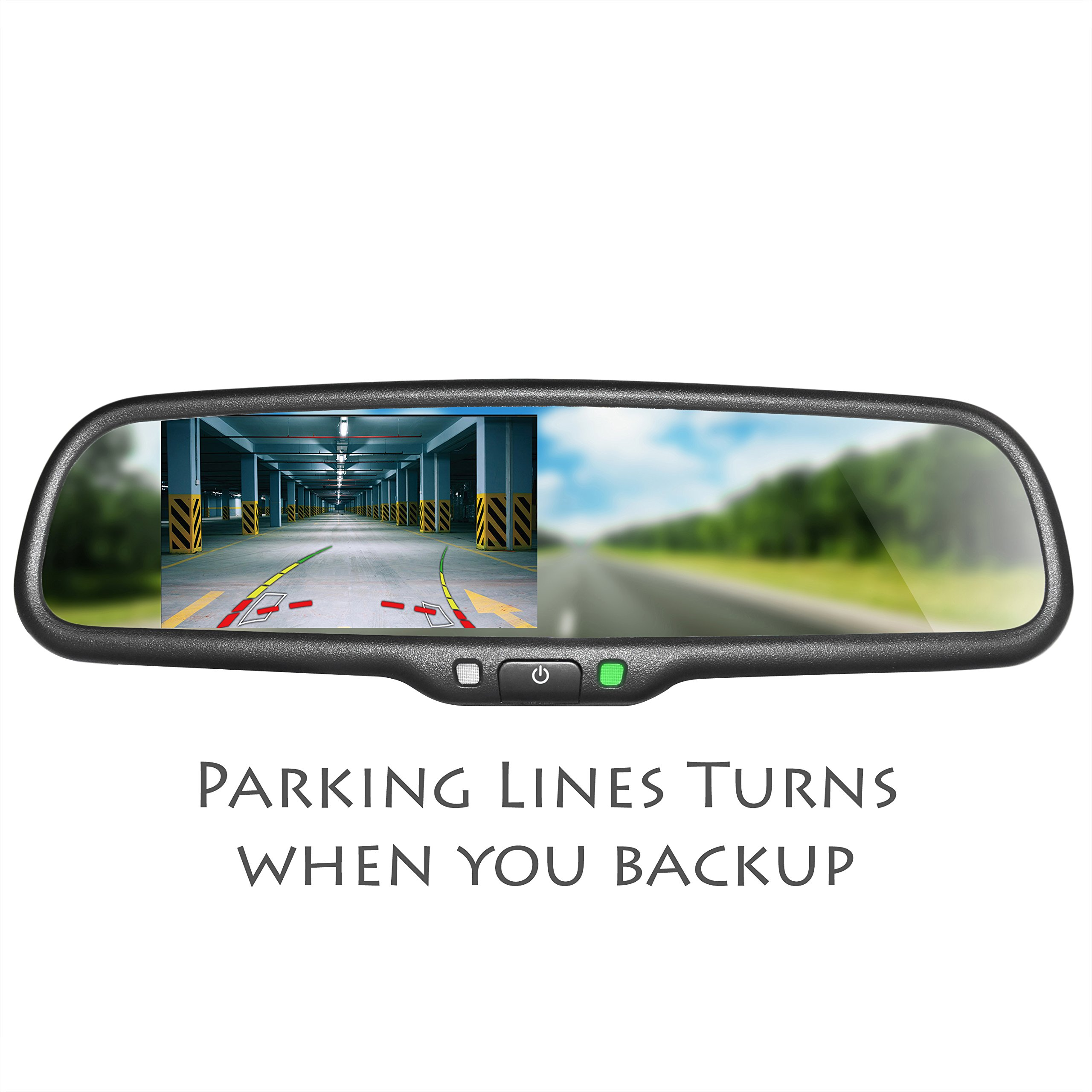 Master Tailgaters OEM Rear View Mirror with 4.3'' Auto Adjusting Ultra Bright LCD with DYNAMIC Parking Lines - Universal Fit by Master Tailgaters