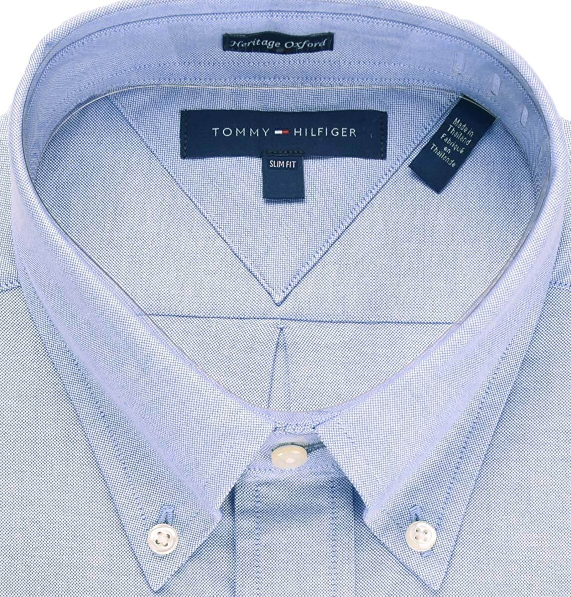 25d9ea634 Tommy Hilfiger Mens Slim Fit Long Sleeves Button-Down Shirt at Amazon Men's  Clothing store: