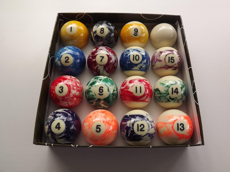 Juego de bolas de billar (rayadas y lisas, 2 pulgadas, efecto ...