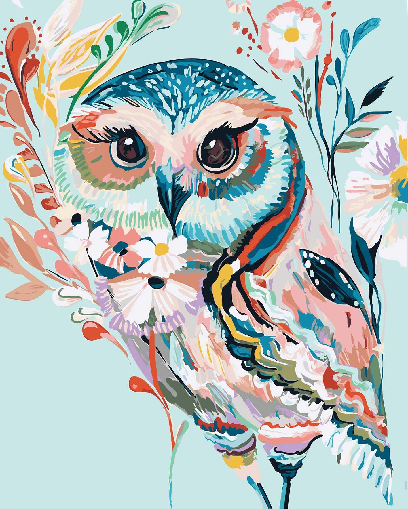 DoMyArt Acrylic Paint by Number Kit On Canvas for Adults Beginner - Rainbow Owl 16X20 Inch by DoMyArt