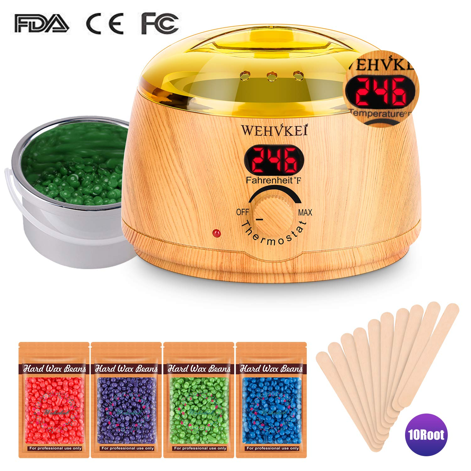 Wax Warmer Brazilian Bikini Waxing Warmer Kit Hair Removal with Digital LCD Display with Temperature Control Waxing Warmer Heater Pot Painless Includes 4-Flavor Wax Beans and 10 Wax Applicator Sticks