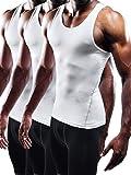 Neleus Men's Athletic 3 Pack Compression Tank Top Dry Fit Undershirts,White,2XL,EUR 3XL