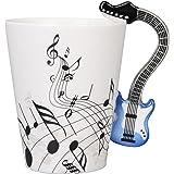 I-MART Musical Notes Design Ceramic Drink Tea Coffee Mug Cup (Electric Guitar) Blue