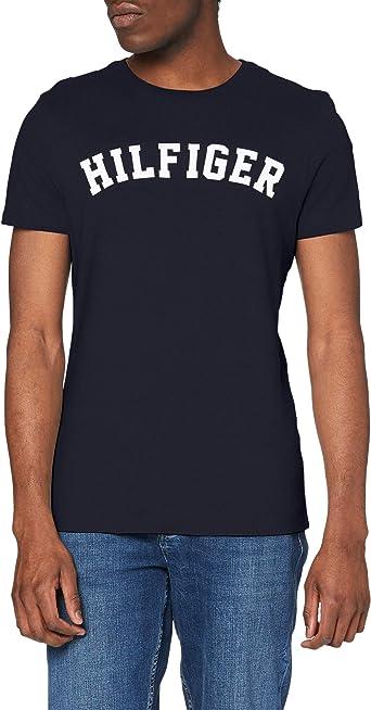 TALLA S. Tommy Hilfiger Logo Camiseta de Cuello Redondo,Perfecta para El Tiempo Libre para Hombre