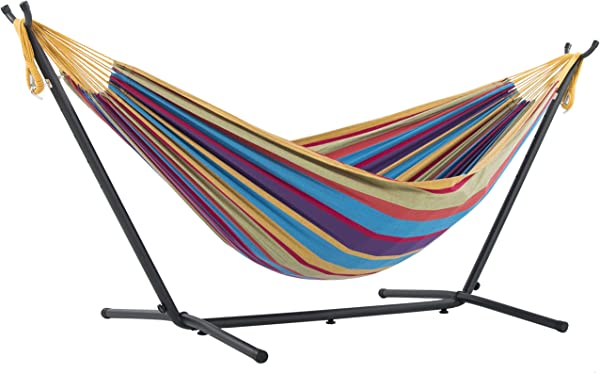 Vivere Double Cotton Hammock with Space Saving Steel Stand, Tropical
