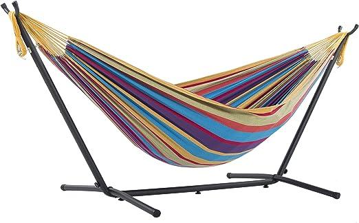 Vivere UHSDO8-20 - Hamaca con soporte incluido, multicolor, 250 cm, doble, diseño Tropical: Amazon.es: Jardín