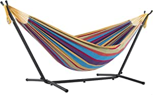 Vivere UHSDO9-20 Double Cotton Hammock with Space Saving Steel Stand, Tropical (450 lb Capacity- Premium Carry Bag Included), Tropical with Charcoal Frame, 2 Person