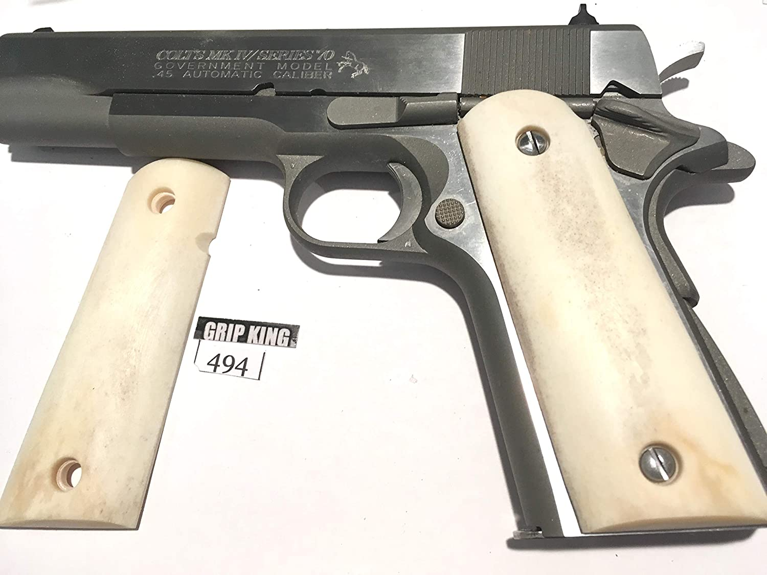 1911 GRIPS GENUINE BUFFALO BONE #494. FITS COLT,SIG,KIMBER,SPRINGFIELD,RUGER,TAURUS,REMINGTON,WILSON,R.I.,S & W, THOMPSON,ACE,ITHACA,CLONES. SALE $39.88